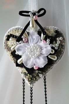 Black heart decor in vintage style, Wedding keepsake ornament, Wedding gift for the couple, Fabric heart wall ornament, Thank you gift