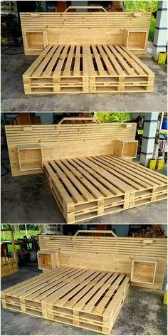 very beautiful pallet wooden bed made by azizu #woodenpalletfurniture