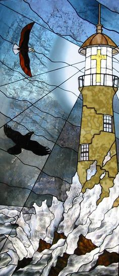 STAINED GLASS LIGHTHOUSE & BIRDS! http://www.presbofak.org/Portals/presbofak/Craig%2520stained%2520glass%2520-%2520lighthouse.JPG
