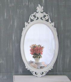 "SHABBY CHIC NURSERY Decor Baby Girl Nursery Decor Mirror Wedding 31""x16"" White Decorative Unique New Mom Gift New Baby Gift. $139.00, via Etsy."