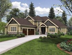 Elegant Craftsman with Double Main Floor Master Suites: What is fantastic about this multiple generation home is that not only does it mold to fit your lifestyle but its design also reflects and supports a modern life while adding the elegance and style of a traditional Craftsman. House Plan No.326932 House Plans by WestHomePlanners.com