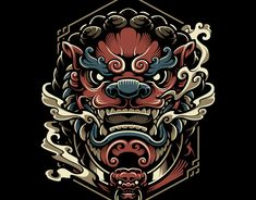 artwork based on Japanese samurai with Japanese tattoo style Japanese Mask, Japanese Tattoo Art, Japanese Tattoo Designs, Foo Dog Tattoo, Samurai Artwork, Fu Dog, Chef D Oeuvre, 3d Prints, Graphic