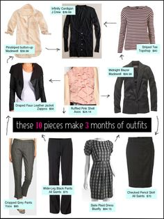 10 pieces, 3 months of outfits for work business-casual Professional Wardrobe, Wardrobe Basics, Work Wardrobe, Capsule Wardrobe, Fall Wardrobe, Capsule Outfits, Fashion Capsule, Work Fashion, Fashion Outfits