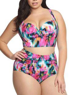 5a1dfe28555c1 Black Plus Size High-waisted Bikini Sets