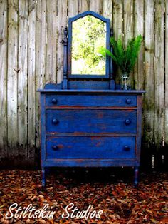 Blue, aged beautifully..dresser with mirror makeover.