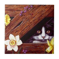 Tuxedo Cat Daffodils Art Creationarts Tile
