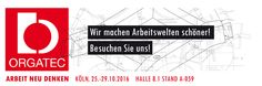 Messe ORGATEC 2016 in Köln, 25.-29.10.2016  Wir stellen aus - Arbeit neu denken - Halle 8.1 Stand A-059 Die internationale Leitmesse für moderne Arbeitswelten 25.–29. Oktober 2016 Wie leben und arbeiten wir heute? Wie wird unser Arbeitsumfeld morgen aussehen? Welches Umfeld brauchen wir, um unsere Kreativität und unser Potenzial optimal zu entfalten? Als Internationale Leitmesse für moderne Arbeitswelten zeigt die ORGATEC die ganze Welt der Arbeit. Also alles, was zum perfekten Zusammenspiel…