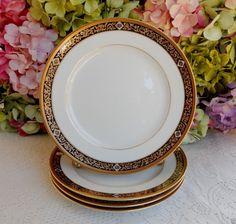4 Gorgeous Christian Dior Porcelain Salad Plates ~ Nuit D'Or ~ Black ~ Gold #ChristianDior