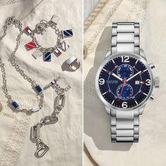 Hodinky Tommy Hilfiger s modrým ciferníkom a šperkami. Šperky a hodinky http://www.1010.sk/kategoria/tommy-hilfiger/