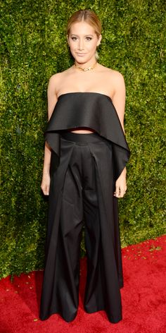 2015 Tony Awards: Ashley Tisdale in a daring palazzo pant outfit by Solace