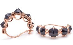 Emma Budded Hoops - Rose Gold & Black Spinel by Anna Sheffield ||  Perfect Modern Earring for Bridesmaids  ||  Follow @KWHBridal