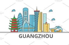 Guangzhou city skyline. Buildings, streets, silhouette, architecture, landscape, panorama, landmarks. Editable strokes. Flat design line vector illustration concept. Isolated icons on white background. Travel Icons