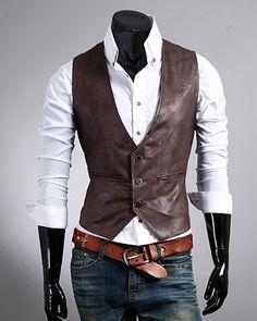 Mens Waistcoats Fashion Solid Single Breasted V Neck Pockets PU Men Waistcoat Discount Online Shopping