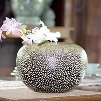 Egg Shell Mosaic - white shell on black vase