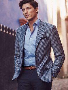 Loving this check blazer! Business Casual, Shades of Blue  J. Hilburn - Spring 2016 https://stephmcdonald.jhilburn.com/