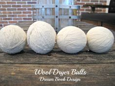 DIY wool dryer balls on dreambookdesign.com An easy tutorial showing you how to make dryer balls that cut down on drying time and reduce static- totally taking away the need for dryer sheets!