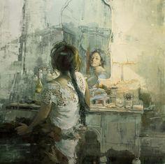 """The White Vanity"" - 48 x 48 in. Oil on Panel 2012"