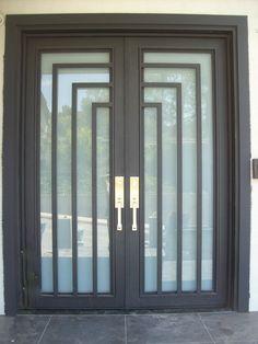 Modern Entry Door, Wood Entry Doors, Wooden Front Doors, Double Entry Doors, Entrance Doors, Metal Screen Doors, Iron Doors, Iron Gate Design, Porch Doors