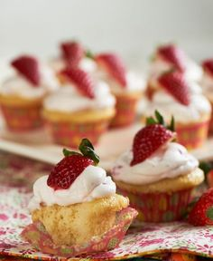 Vanilla Cupcakes with Whipped Strawberry Frosting