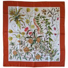 1970s Gucci Botanical Floral Scarf Designed by Vittorio Accornero