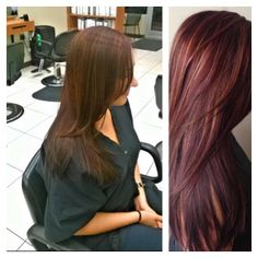 hair color red color highlights lowlights longhair long color correction ldangelohair burgundy red violet