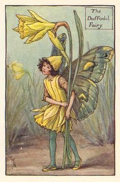 FLOWER FAIRIES 1930: DAFFODIL. Old Vintage Print. Artist: Cicely Mary Barker