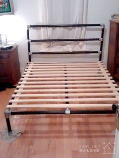 47 DIY Bed Frame Ideas Built with Pipe  #KeeKlamp #diybedframe #pipefurniture