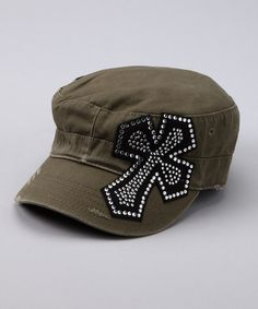 Take a look at this Olive Small Cross Rhinestone Newsboy Hat by Rhinestone Junkie on #zulily today!