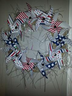 June 2014 Paper Pumpkin Pinwheels Wreath