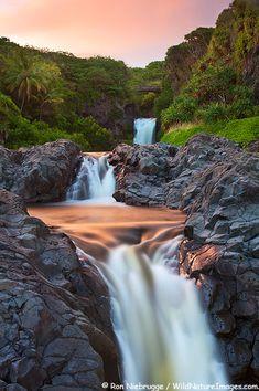 Sunset at Ohe'o Gulch aka Seven Sacred Pools in Haleakala National Park, Maui, Hawaii