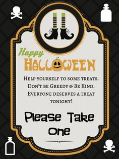 halloween candy signs free printable