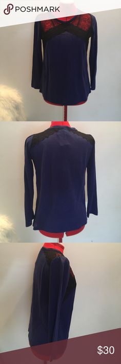{Sandro} royal blue lace top Authentic  Sandro Size 1 Originally $60 Brand new condition Sandro Tops Tees - Long Sleeve