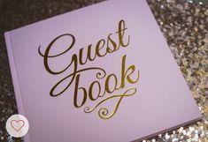 Gold foil pink guest book