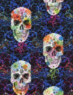 Flourish Skull - Multi - Timeless Treasures - one of my top picks for 2015 <3