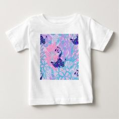 floral pink peacock baby T-Shirt - birthday gifts party celebration custom gift ideas diy