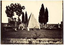 Rome Piramide di Caio Cestio Oversized original albumen photo 1860c Roma