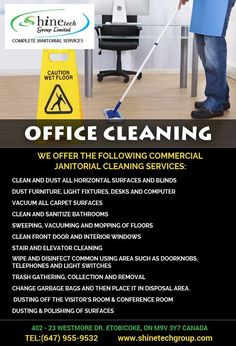 We provide Office Cleaning Services Etobicoke and as well as other regions Toronto, Brampton, Woodbridge. Our cleaning equipment, procedures, and products are selected to give effective and safe services for your office environment. Call us: Office Cleaning Services, Commercial Cleaning Services, Janitorial Cleaning Services, Cleaning Equipment, Office Environment, Wood Bridge, Curtains With Blinds, Bathroom Cleaning
