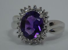 10K WHITE GOLD RING 10MM X 8MM OVAL PURPLE AMETHYST ACCENT DIAMONDS 3g SIZE 7 #Statement