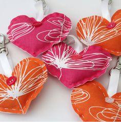 fabric hearts on key chain