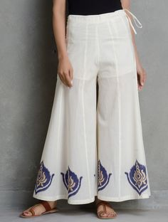 Buy Ivory Golden vy Navy Khari Block Printed Tie Up Waist Cotton Flare Palazzos by Ruh Apparel Pants & Skirts Relaxed Glamor Katan Silk Kurtas More with Pintucks Spring Fashion Outfits, Summer Outfits Women, Fashion Pants, Fashion Clothes, Fashion Dresses, Salwar Designs, Blouse Designs, Skirt Pants, Pants Outfit