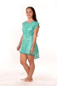Vestidito en guipiur de entramado medio en color turqueza o verde aqua ...como prefieras llamarlo!