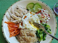 The Briny Lemon: Chicken and Rice Noodle Bowl with Sweet and Sour Dressing