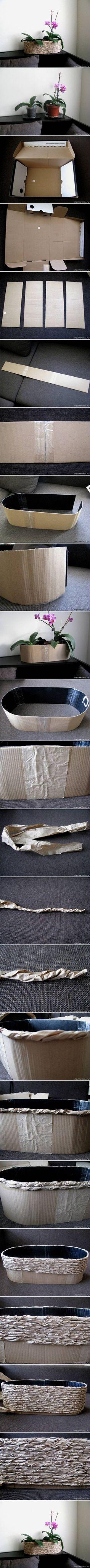 como hacer una maceta con papel y carton