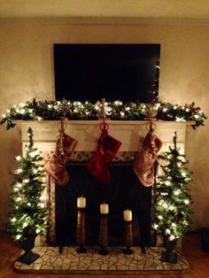 Image result for how to decorate a mantel for christmas with tv mounted