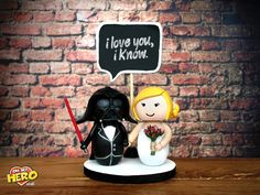 STAR WARS Dath Vader and Bride Wedding Cake Topper OH MY HERO