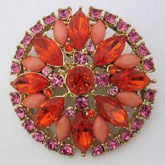 Vintage Orange/Pink Rhinestone Brooch