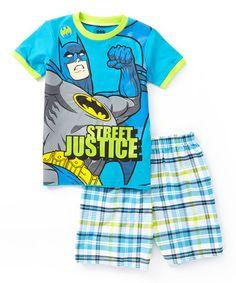 Loving this Blue Batman 'Street Justice' Tee & Plaid Shorts - Toddler on #zulily! #zulilyfinds