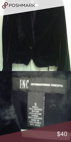 Short, fitted velvet jacket Small ruffle trim, one button. Great dressy or casual with jeans. INC International Concepts Jackets & Coats Blazers