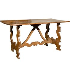 Spanish Table with Carved Stretcher