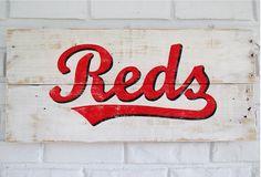Cincinnati Reds Baseball Sign by VintageSignDesigns on Etsy